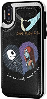 Nightmare Before Christmas Simply Meant to Be Couple Phone Case for iPhone X/XS with Credit Card Slot Cash Holder Shockproof Protective Flip Case for iPhone X/XS 6.1'',Black,One Size