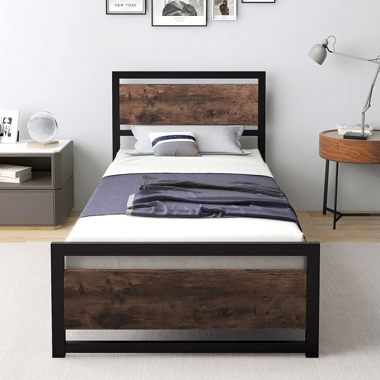 Bed Frame with Wooden Headboard,No Box Spring Needed, Heavy Duty Metal Bed,Mattress Foundation,Strong Slat Support, Twin XL/Queen/King (Twin XL)