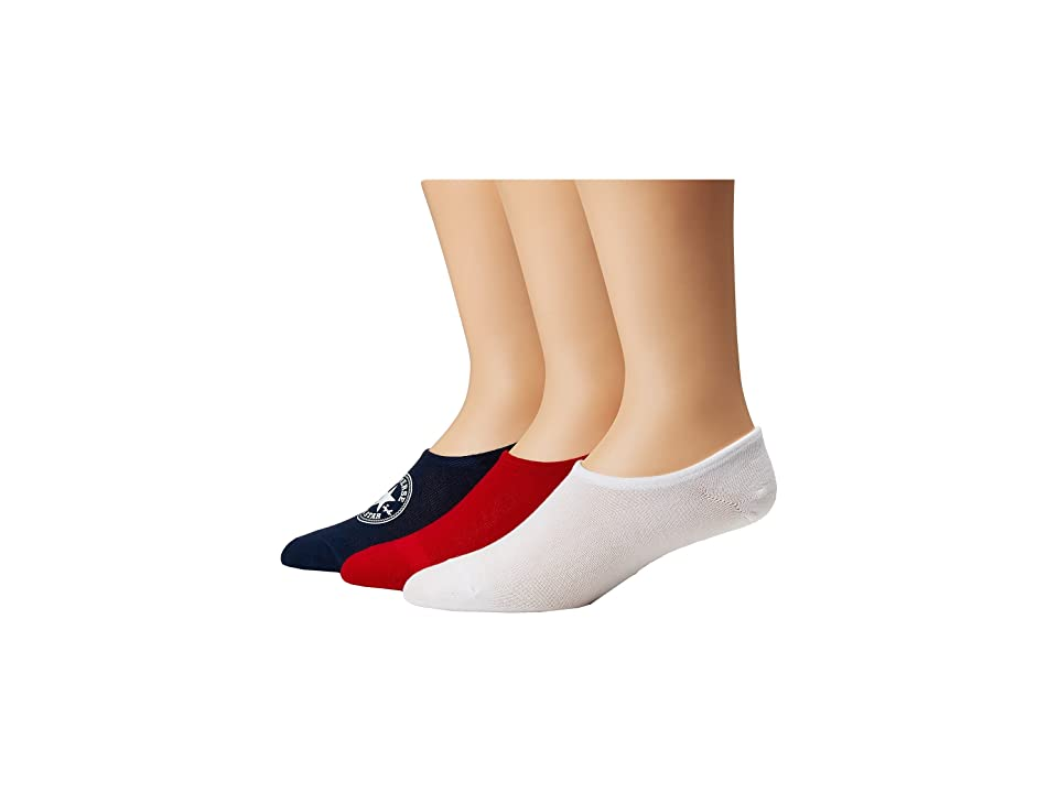 505ae941855 Converse 3-Pack Classic Chuck Patch Made for Chuck (Navy White Red) Men s  Crew Cut Socks Shoes