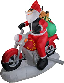 Northlight 6.5' Inflatable Santa Claus on Motorcycle Lighted Christmas Yard Art Decoration