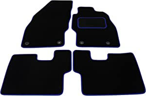 Fully Tailored Deluxe Car Mats Black with Blue Trim