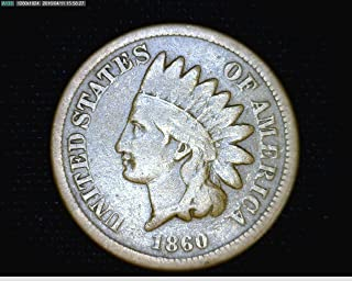 1860 U.S. Indian Head Copper-Nickel Cent / Penny Circulated to VG