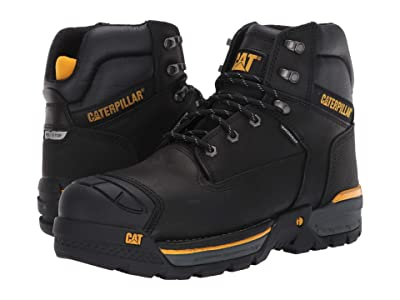 Caterpillar Excavator LT 6 Waterproof Composite Toe (Black Full Grain Leather) Men