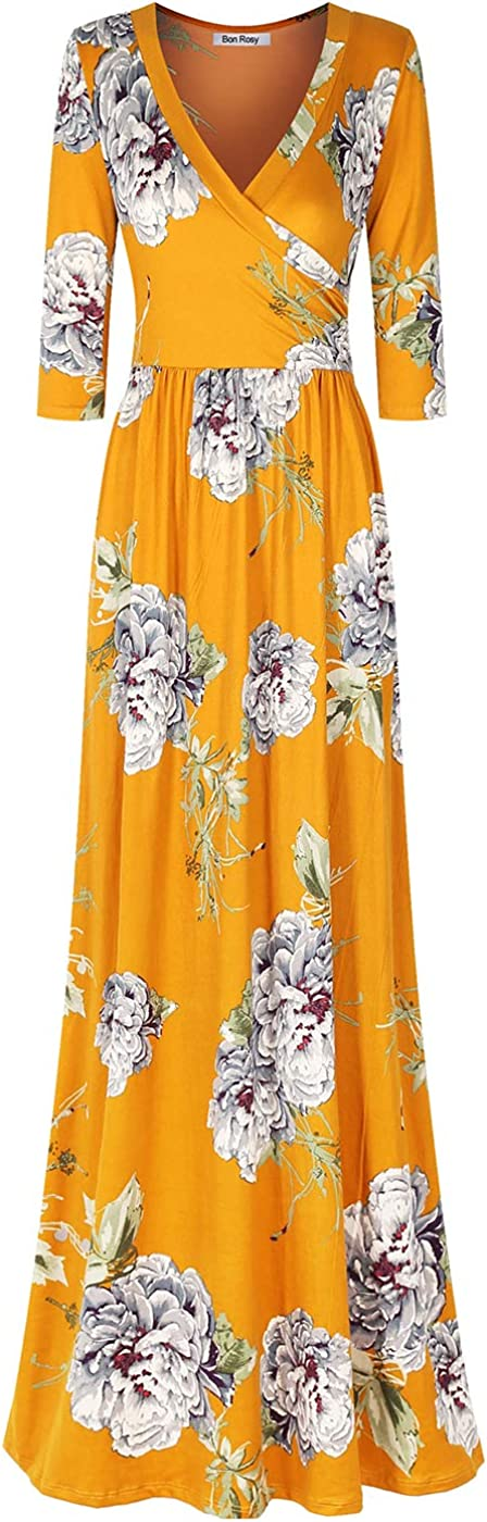 Bon Sales for sale Rosy Women's Large discharge sale 3 4 Sleeve Bohemian Printed V-Neck Wrap Dr Maxi
