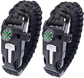 WEREWOLVES Paracord Survival Bracelet with Compass Whistle Stainless Scrapper Flint Fire Starter for Hiking&Camping, Professional Personal EDC Tactical Bracelet, Multifunction Outdoor Survival Gear