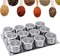 GoMaihe Magnetische Roestvrijstalen Kruidenpotjes 12 Stuks Set, Ronde kruidenpotjes Kruiden Shakers, Kruidencontainer Tran...