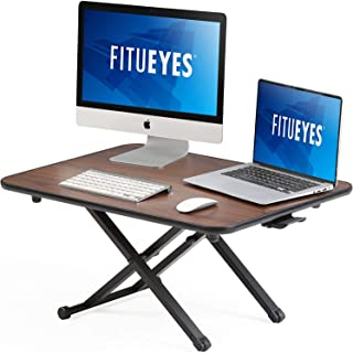 FITUEYES Height Adjustable Standing Desk Sit to Stand Converter Working/Study Table Gas Spring Riser fit Dual Monitors, Wa...
