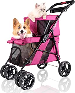 ibiyaya 4 Wheel Double Pet Stroller for Dogs and Cats, Great for Twin or Multiple pet Travel