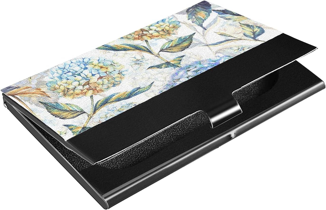 Financial sales sale OFFicial site OTVEE Vintage Blue Hydrangea Business Holder Wallet Stainle Card