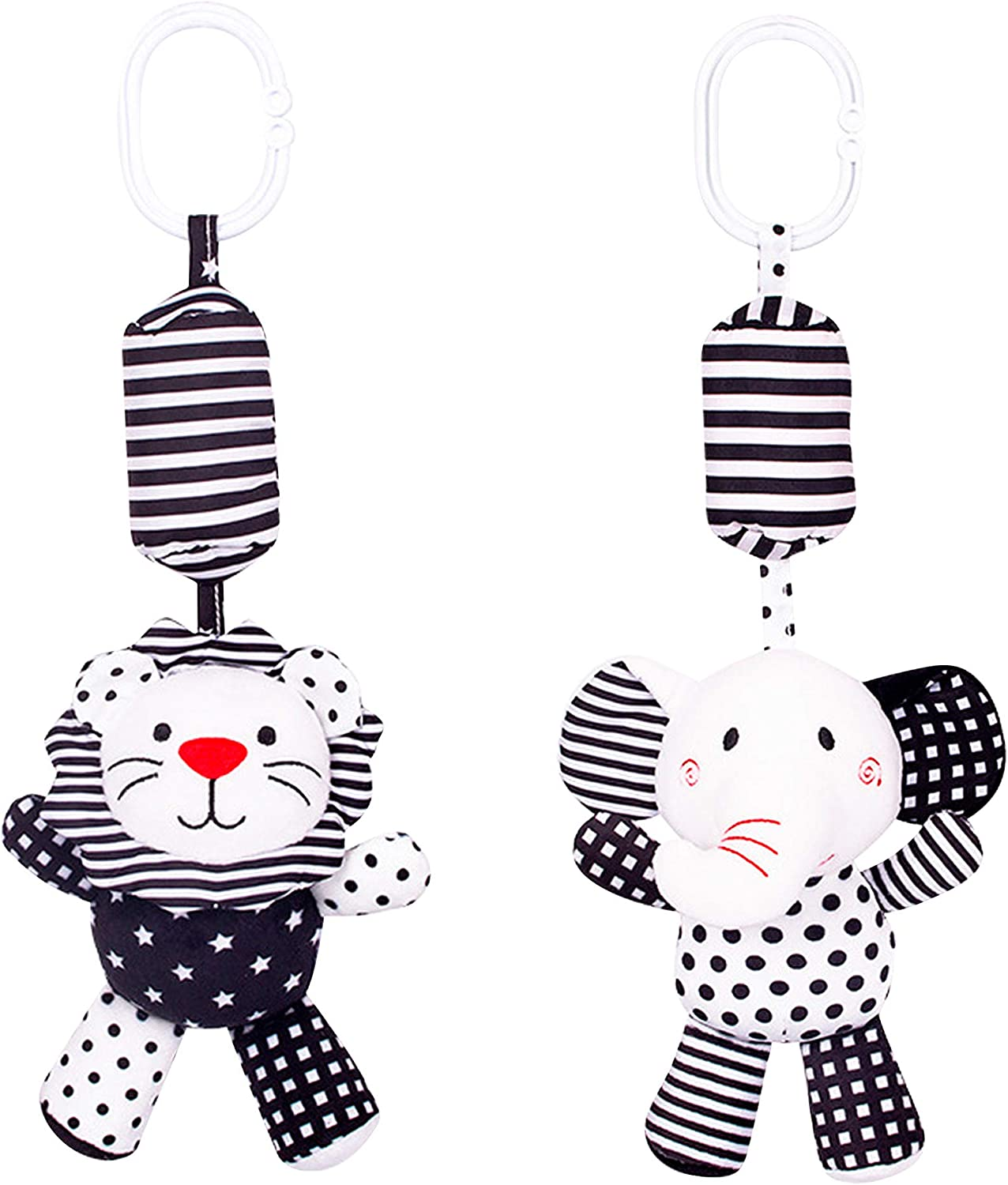 Baby Hanging Rattle Toys - Newborn Stroller Toys - Infant Crib Car Seat Toys - 3 6 9 12 Months Baby Rattles - Baby Gift - Soft Plush Toys with Wind Chimes 2 Pack