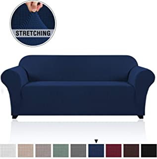 PrinceDeco Soft Stretch Sofa Cover for 3 Cushion Couch Knitted Jacquard Fabric Sofa Cover Durable Lycra Furniture Protector Machine Washable/Skid Resistance Spandex Sofa Slipcover(Sofa, Navy)