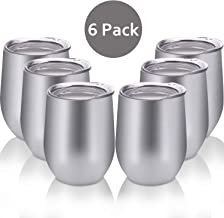 Skylety 6 Pack 12 Oz Unbreakable Drink-Ware Stemless Wine Tumbler, Stainless Steel Triple-Insulated Vacuum Wine Glass Cup with Lids for Wine, Coffee, Champagne, Cocktails and Beer (Silver)