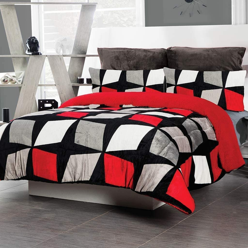 DreamPartyWorld New sales Geometric 2021 autumn and winter new Red Black Blanket Comfor Throw Flannel