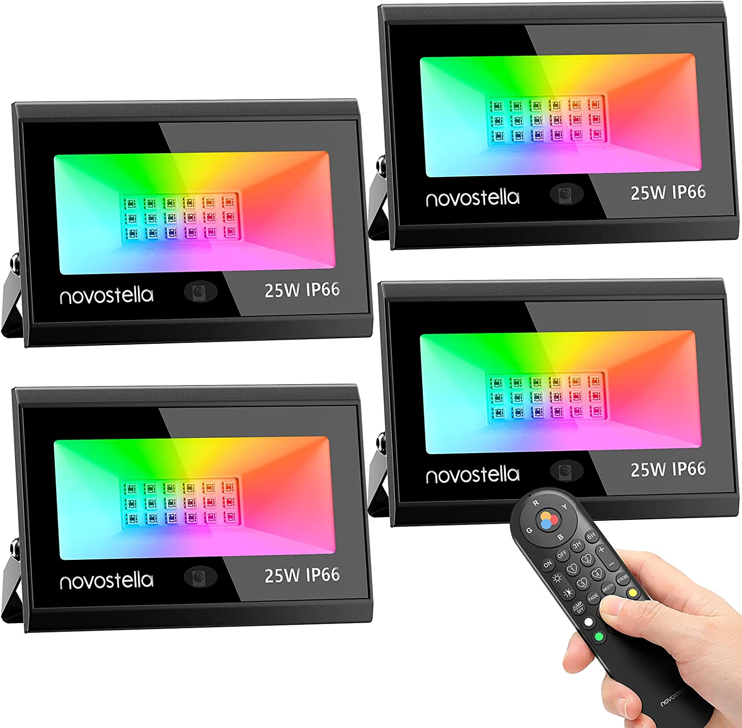 Novostella 25W RGB LED Flood Light 4 Pack with Upgraded IR Remote, IP66 Waterproof Outdoor Stage Uplights, 4 DIY Modes, Dimmable Color Changing Floodlight, for Events Halloween Garden Stage Landscape