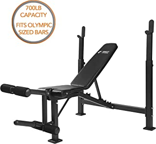 Olympic Weight Bench with Leg Developer Attachment by D1F for Strength Training and Powerlifting - High-Quality Reclining Workout Benches with Leg Extension and Curls for Weightlifting