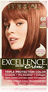 L'Oreal Paris Excellence Creme Triple Protection Hair Color, Light Auburn (Warmer) [6R] 1 ea (Pack of 4)