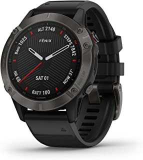 Garmin Fenix 6 Sapphire Smartwatch, Carbon Grey DLC with Black Band