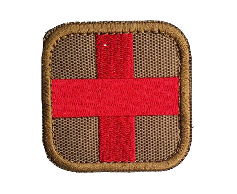 Zhikang68 Embroidered Medic Cross Tactical Patch First Aid Decorative Badge Appliques