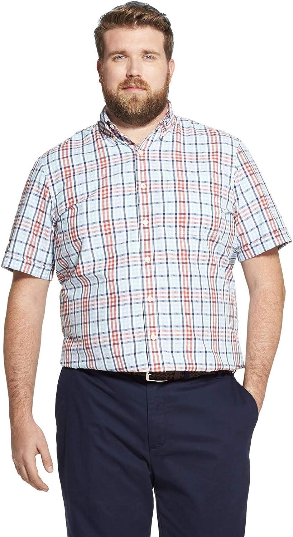 IZOD Men's Big and Tall Breeze Short Sleeve Button Down Plaid Shirt