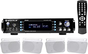 "Rockville 1000w Home Theater Bluetooth Receiver+4) 6.5"" Speakers+Swivel Brackets"