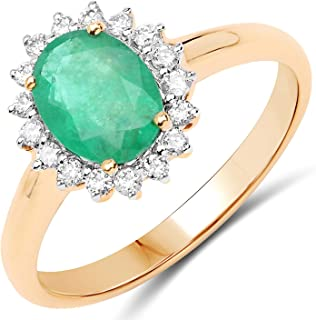 JOHAREEZ 10kt Gold Emerald Ring - 1.20 Carat Genuine Emerald Oval and Diamonds Halo Ring in 10kt Yellow Gold for Women - P...
