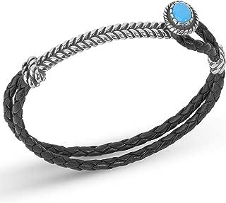 Sterling Silver Blue Turquoise or Blue Lapis Gemstone Black Leather Bracelet Size S, M or L