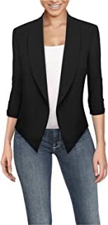 Womens Casual Work Office Open Front Blazer Jacket Made in USA