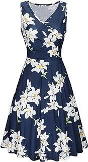 Women's V Neck Sleeveless Summer Casual Elegant Midi Dress