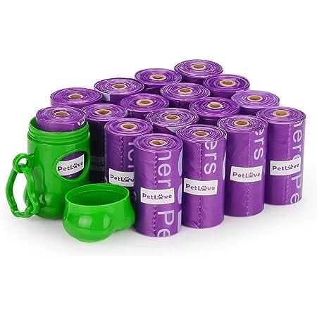 PetLoft Bolsa de Caca, 240-Cuentas Duradero Biodegradable Perfumada Bolsa de Caca para Perro con EPI-tecnología, Dispenser Incluido