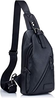 Genuine Leather Men Shoulder bag Sling Chest bag Travel Hiking Backpack Crossbody Bag (Black)