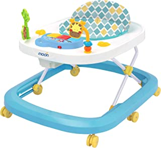 MOON Drive Height Adjustable Baby/Child Walker With Music And Toys Play Tray-(From 6 Months To 18 Months)- Blue Forest