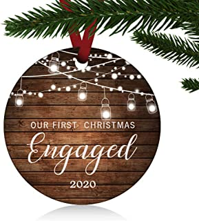 """Best ZUNON Our First Christmas Engaged Ornaments 2021 Our First Christmas Married Wedding Decoration 3"""" Ornament (Engaged Ornament 1) Reviews"""