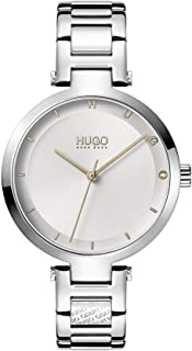 HUGO by Hugo Boss Women's #HOPE Quartz Watch with Stainless Steel Strap, Silver, 8 (Model: 1540076)