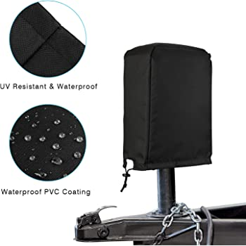 jinjue Universal Electric Tongue Jack Cover Waterproof Protective Camper Travel Trailer RV Jack Cover 1, Black