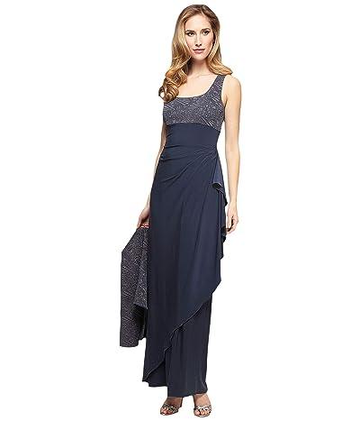 Alex Evenings Two-Piece Long Dress with Jacquard Bolero Jacket (Smoke) Women