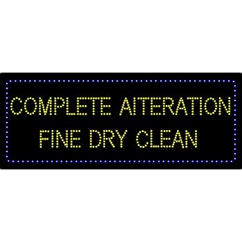 LED Tailoring Alteration Dry Cleaners Open Light Sign Board Super Bright Electric Advertising Display Board for Business Retail Shop Store Window 32 x 13 inches Multi-Colored