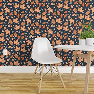 Spoonflower Peel and Stick Removable Wallpaper, Navy Sage Orange Autumn Leaves October Sherwin Williams Print, Self-Adhesive Wallpaper 24in x 144in Roll
