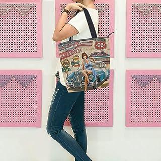 GIGIJY Vintage Design Amerika Reise Poster Handtasche groß für Damen Frauen Schulter Tote Reißverschluss Shopper Organizer...