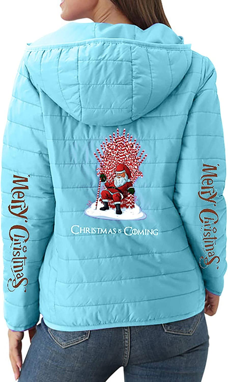 MMOOVV Weihnachten Damen Daunenjacke Übergangsjacke Daunenmantel Mit Kapuze Christmas Print Warme Winter Jacke Parka Langarm Mantel Steppjacke Winterjacke Blau#b