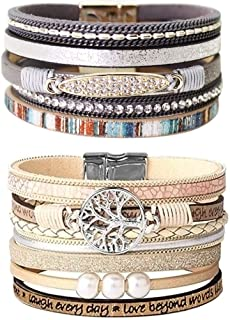 LightOnIt Womens Boho Wrap Leather Multilayer Wide Tree of Life Bracelets Jewelry for Women Teen Girl Gift