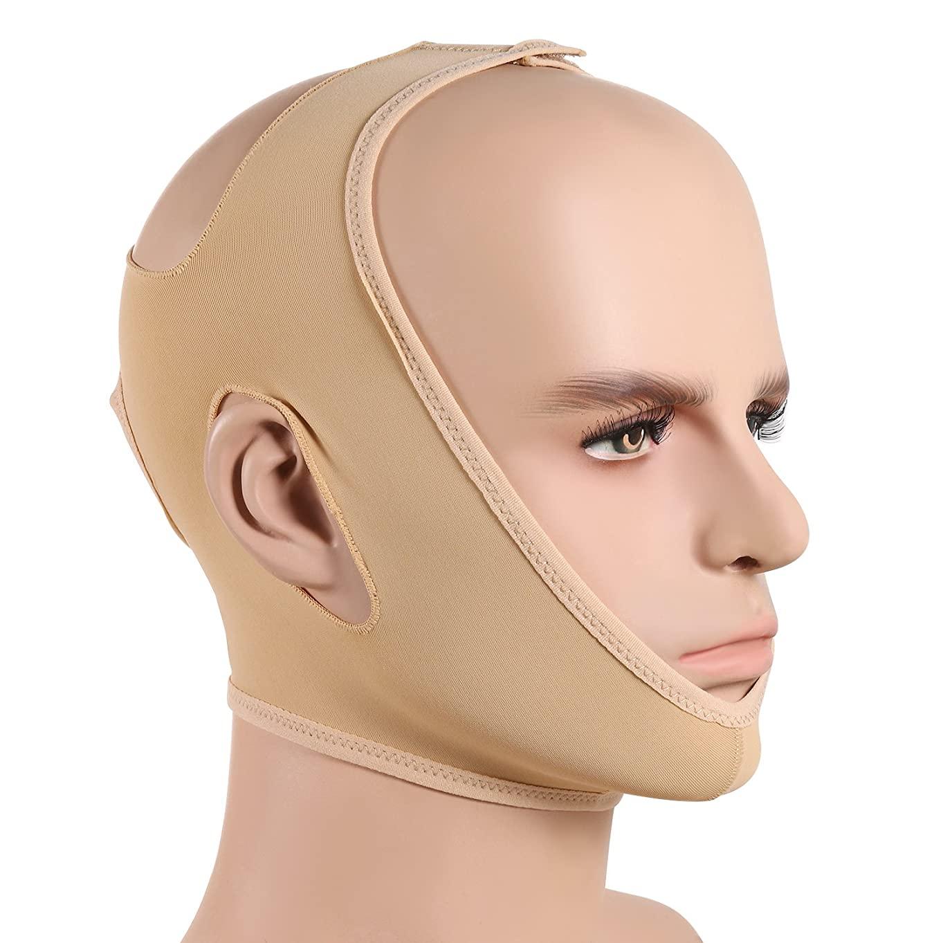 入植者二層平衡JewelryWe 小顔ベルト 美顔マスク 眠りながら 小顔 矯正 額、顎下、頬リフトアップ 小顔マスク 男女兼用 Mサイズ