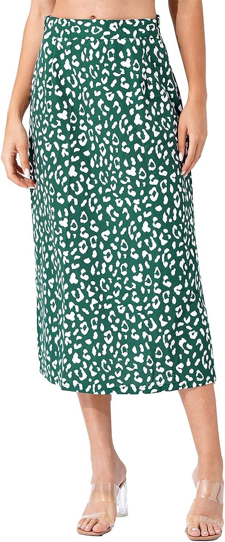 Nimiya Women's Summer Casual High Waist Boho Style Leopard Print Side Split A-Line Midi Skirt