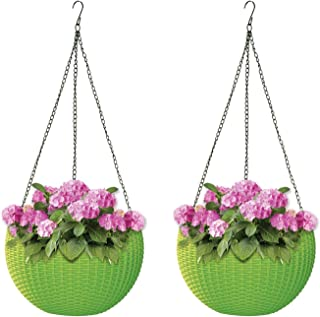 ALMI Hanna Hanging Planter 11 Inch [2 Pack] Round Plastic Decor Garden Resin Flower Pot Chain Basket for Plant, Planters for Plants, for Indoor and Outdoor, Light Green