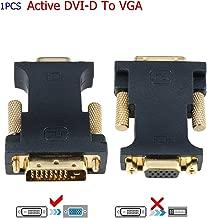 YIWENTEC Active DVI 24+1 DVI-D M to VGA with Chip Active Converter (Black-Shorts)