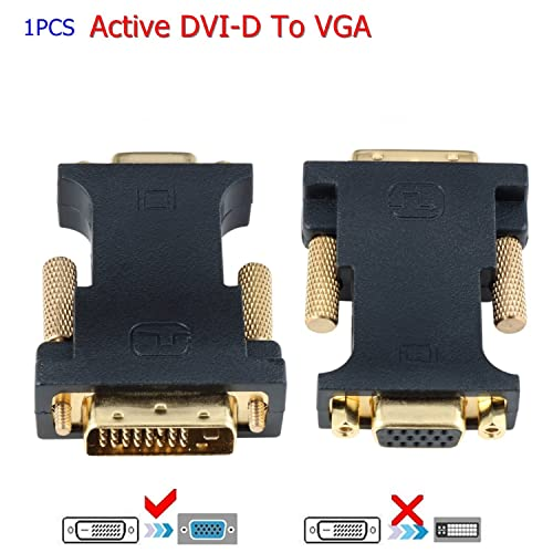 CableDeconn DVI to VGA, Active DVI-D 24+1 to VGA with Chip Adaptateur convertisseur Câble for PC DVD Monitor HDTV