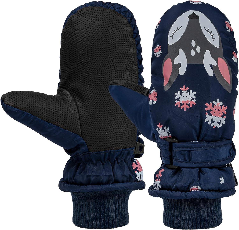 Kids Easy-On Wrap Waterproof Thinsulate Warm Winter Snow Ski Mitten: Clothing