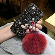 for iPhone 6S Case Glitter Diamond Gem Bracelet Chain Tassel Fox Fur Ball Cover iPhone 5S 6 6S 7 8 Plus X Case