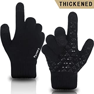 Fycert Winter Gloves Knit Touch Screen Anti-Slip Silicone Gel - Elastic Cuff - Thermal Soft Wool Lining - Stretchy Material