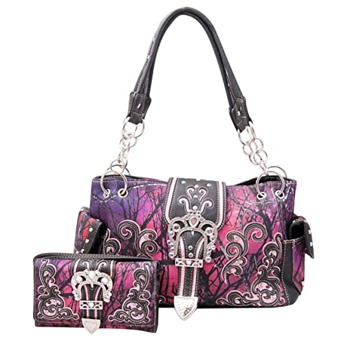 0bb0b7f4f5 HW Collection Western Camo Rhinestone Buckle Concealed Carry Camouflage  Handbag and Crossbody Wallet