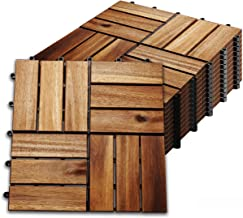 Hengda 55 stuks Houten Tegels Terrastegels Kliktegels ca. 5qm acaciahout FSC®-Gecertificeerd Tegels van 30 x 30 cm